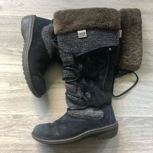UGG Torrey Leather/Sheepskin/Knit Tall Boots